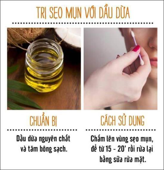 công dụng của dầu dừa trị sẹo